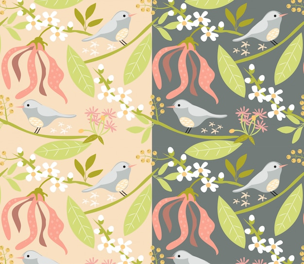 Floral and bird pattern on pink and dark grey background Premium Vector