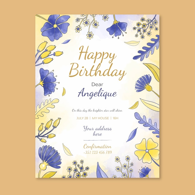 Floral birthday card invitation template Free Vector