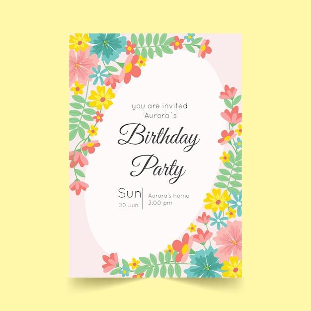 花の誕生日カードテンプレートスタイル 無料ベクター