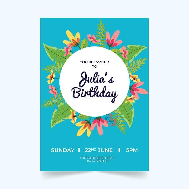 花の誕生日カードテンプレートテーマ 無料ベクター
