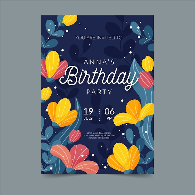 Floral birthday card template Free Vector