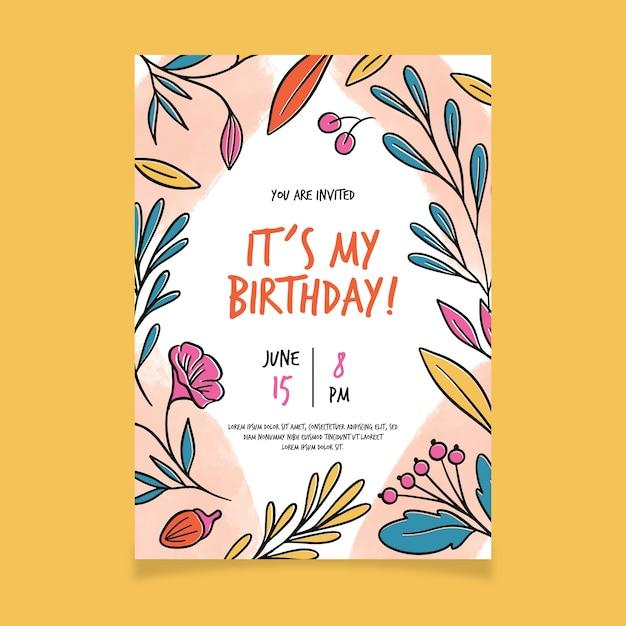 花の誕生日カードテンプレート 無料ベクター