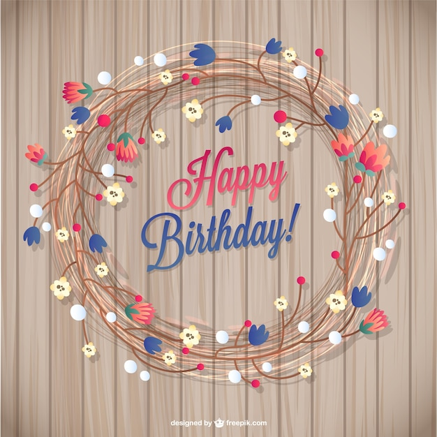 Floral Birthday Card Free Vector  Happy Birthday Card Template Free Download