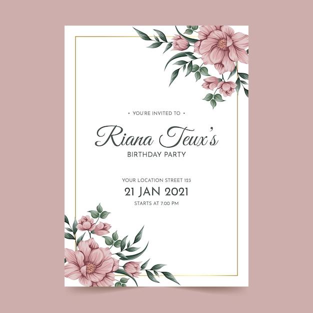 花の誕生日の招待カードテンプレート Premiumベクター