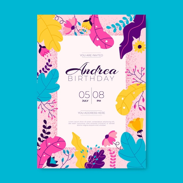 花の誕生日の招待状デザイン 無料ベクター