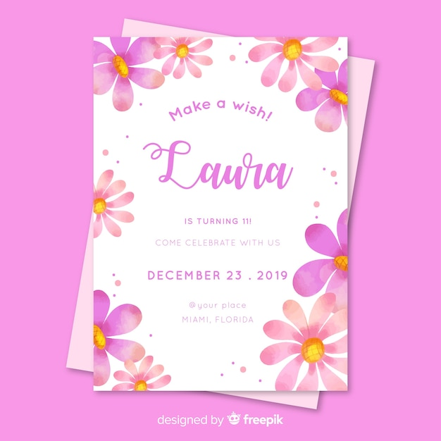Floral birthday invitation for girl template Free Vector