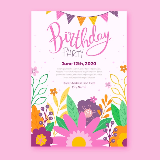 Floral birthday invitation template design Free Vector