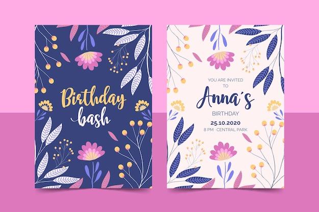 花の誕生日の招待状テンプレートセット 無料ベクター