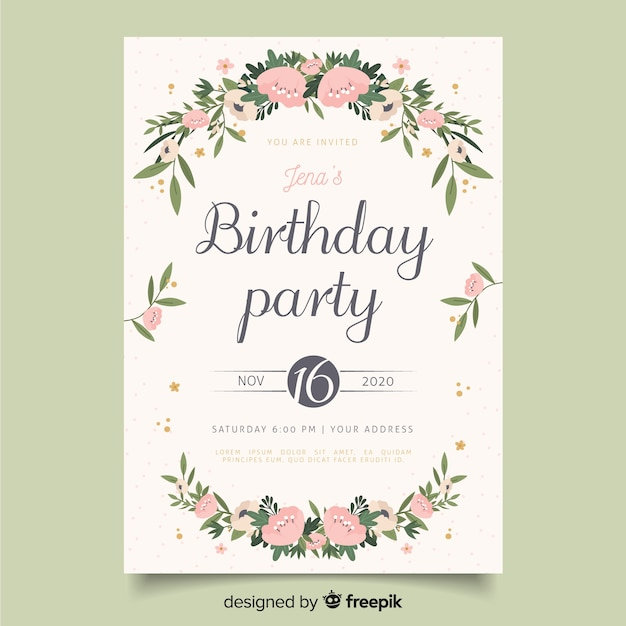 Floral Birthday Invitation Template Vector Free Download