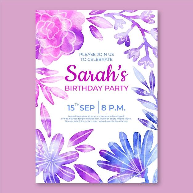 花の誕生日の招待状のテンプレート 無料ベクター