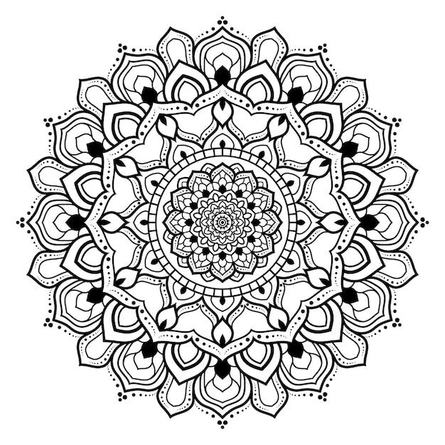 花の黒と白のアウトライン装飾マンダラ Premiumベクター