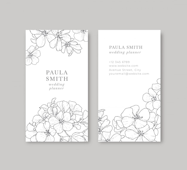 Floral black and white business card Free Vector