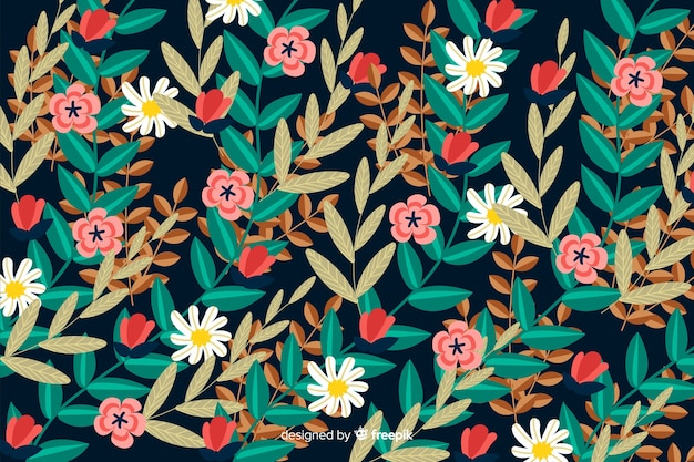 Floral blooming flat design background Free Vector