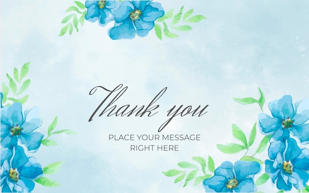 Floral blue banner with thank you Free Vector