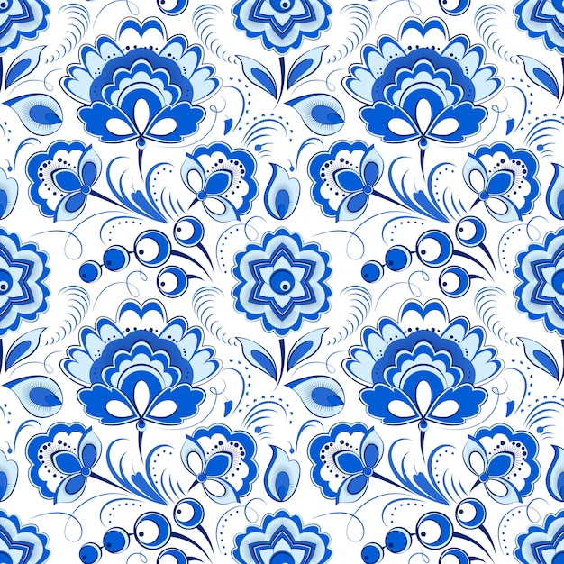 Floral blue seamless pattern in russian country style Premium Vector