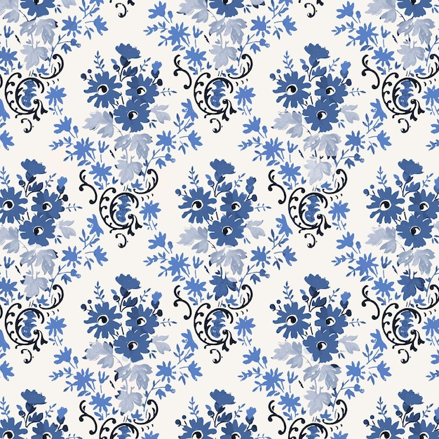 Floral blue vintage style background Free Vector