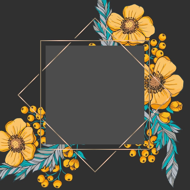Floral boarder vector - black and gold Premium Vector