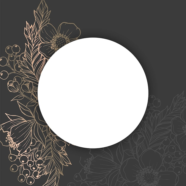 Floral boarder vector - black and gold Free Vector