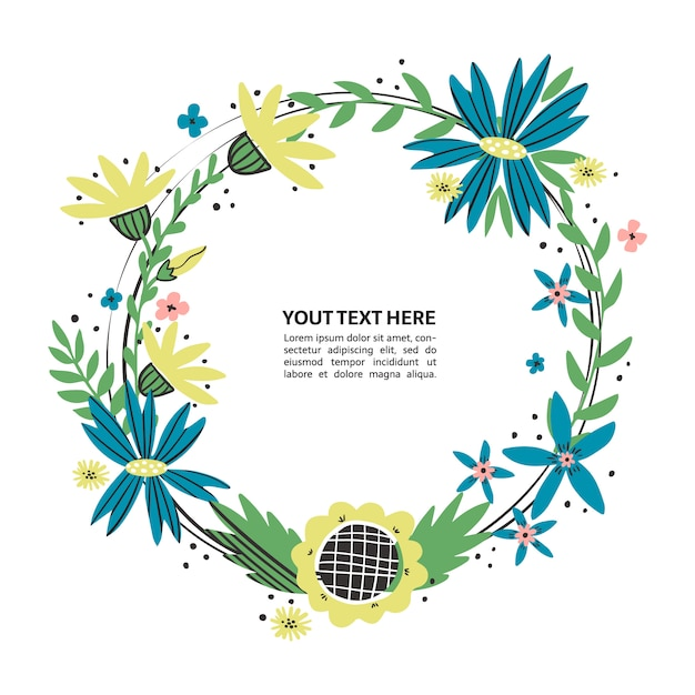 Floral boarder with hand drawn flowers. wildflowers wreath place for your text. colorful doodle text frame for poster, article, invitation, baby shower, card. Premium Vector
