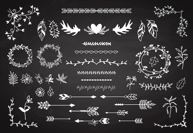 Floral boho elements set. Free Vector