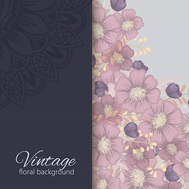 Floral border background  dark flowers frame Free Vector