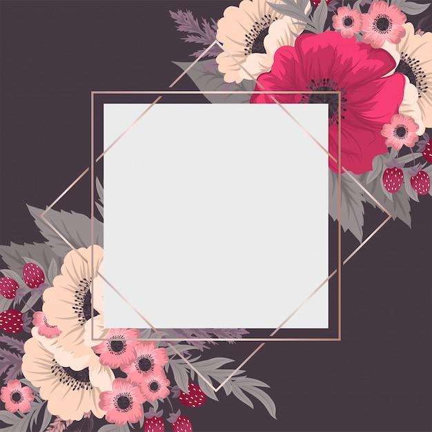 Floral border background  hot pink flowers Premium Vector