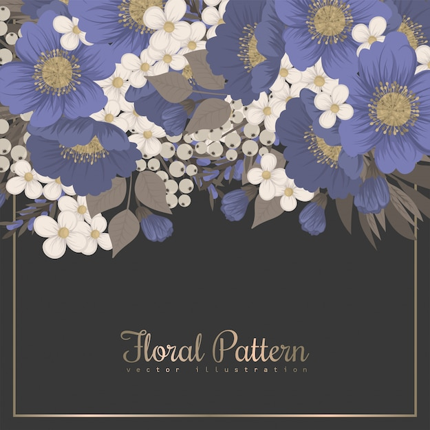 Floral border background - light blue flowers Free Vector