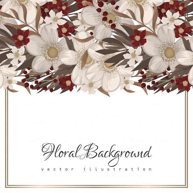 Floral border background - red flowers Free Vector