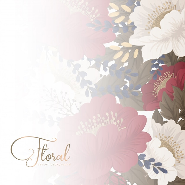 Floral border background  red flowers Free Vector