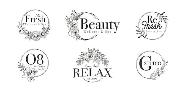 結婚式、スパ、花屋、ブティックのロゴのための花のボーダーフレーム Premiumベクター