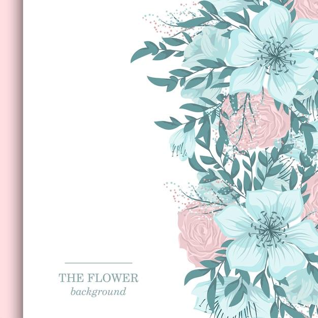 달콤한 꽃과 꽃 테두리 무료 벡터