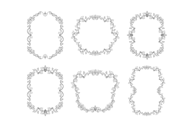 Floral borders set for picture or italian ornament Free Vector
