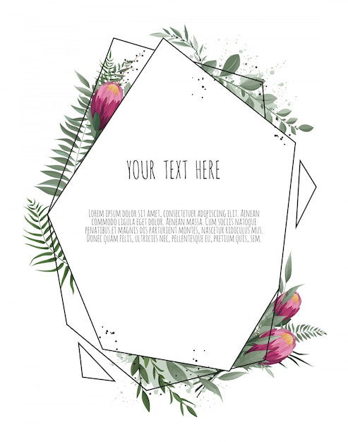 Floral botanical card with leaves with geometrical frame. Premium Vector