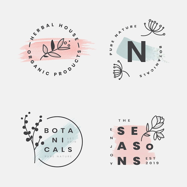 Floral botanical frame collection Free Vector