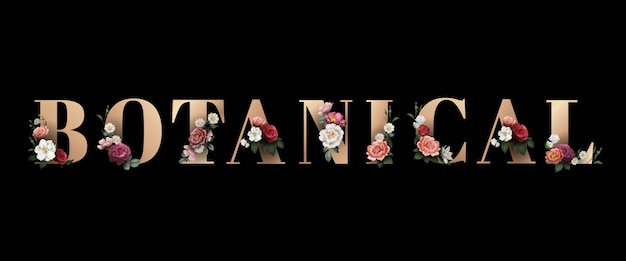 Floral botanical typography Free Vector