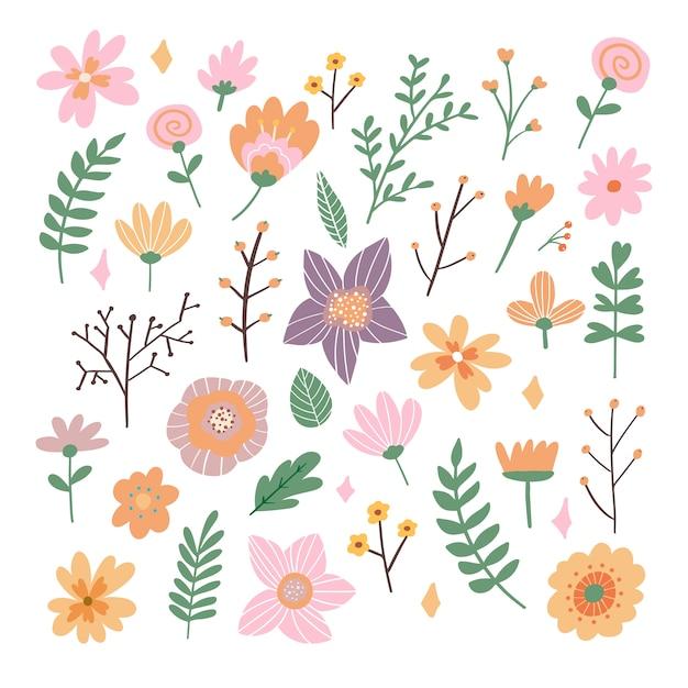 Floral bouquet of hand drawn fantasy folk flowers illustration Premium Vector