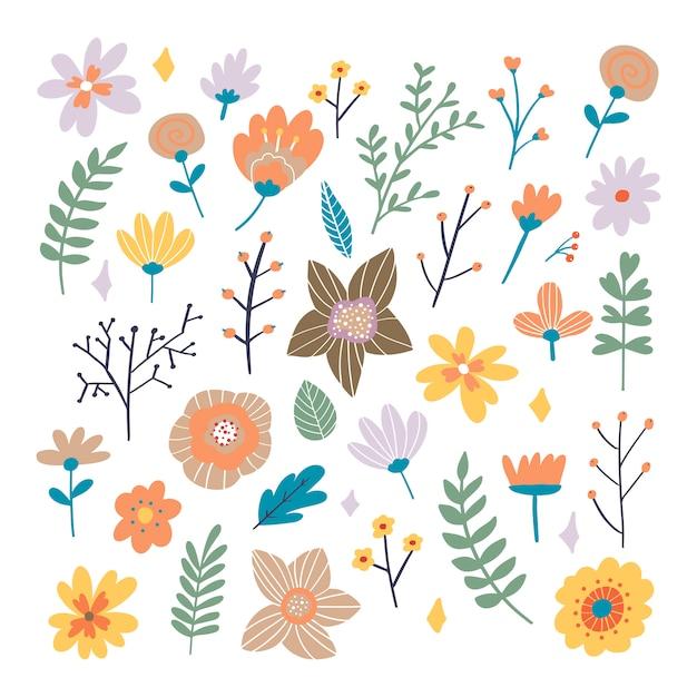 手の花の花束には、ファンタジーの民俗花が描かれています。フラット漫画スタイルの植物図。バナー、プリント、カードとして最適です。 Premiumベクター