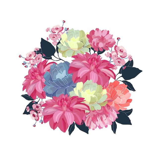 꽃 꽃다발. 분홍색, 노란색, 파란색 꽃, 흰색 바탕에 파란색 잎. 꽃 그림, 수채화 스타일. 프리미엄 벡터