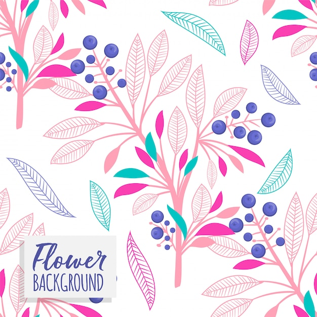 Floral bouquet vector pattern with flowers and leaves Free Vector
