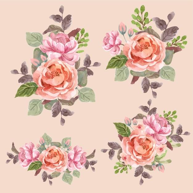 Цветочный букет с любовью, цветущей концепцией дизайна, акварельной иллюстрацией Бесплатные векторы