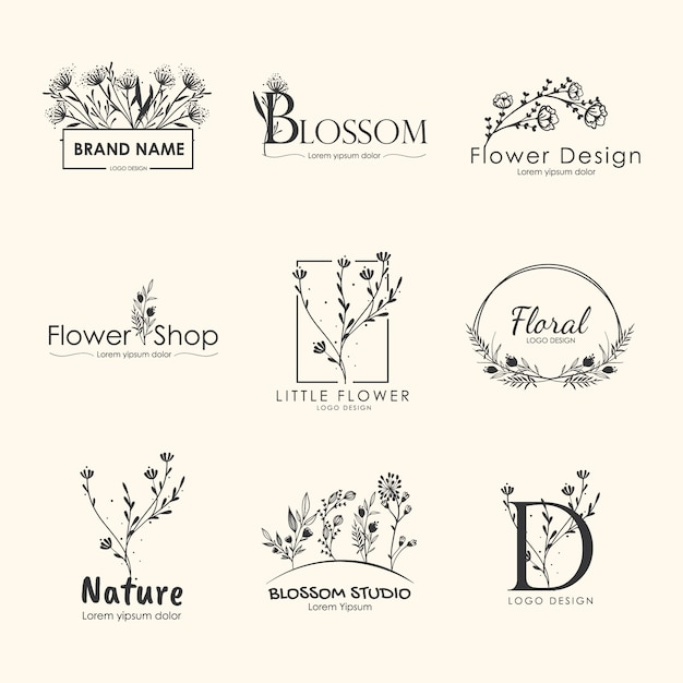 Floral brands and logo designs  collection. Premium Vector