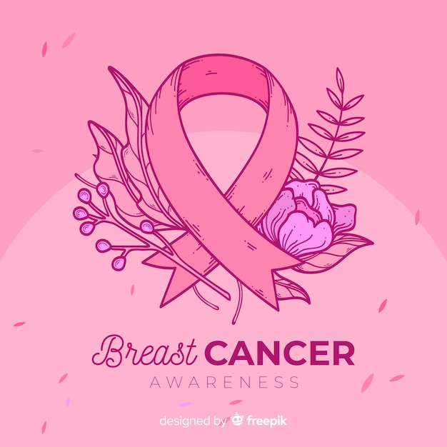 Floral breast cancer awareness symbol Free Vector
