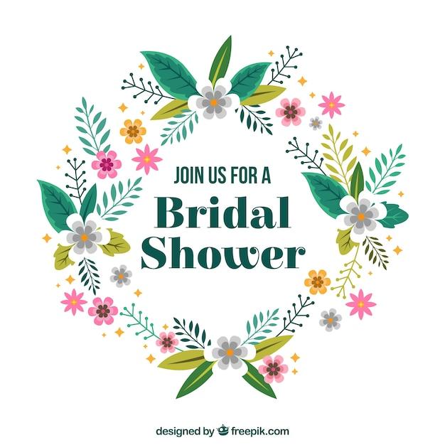 download vector floral bridal shower frame in flat design rh vectorpicker com Bridal Shower Envelope Logo Bridal Shower Chalkboard Signs