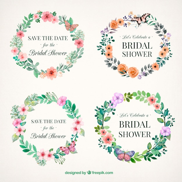 floral bridal shower frames painted with watercolor free vector