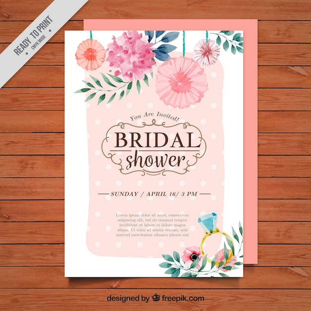 Floral bridal shower invitation painted with watercolorr Free Vector