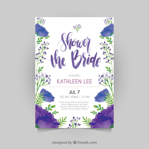 Floral Bridal Shower Invitation Template In Watercolor Style Free Vector  Free Bridal Shower Invitations Templates