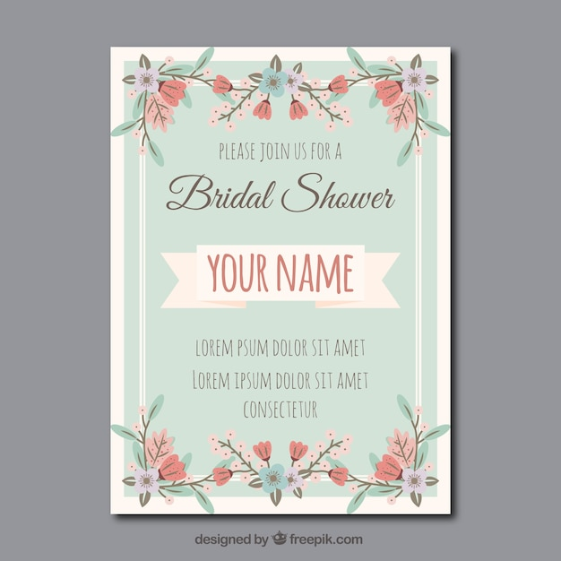Floral bridal shower invitation in vintage style Free Vector