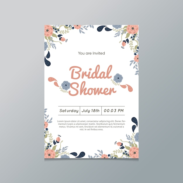 floral bridal shower invitation free vector