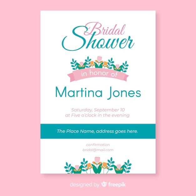 Floral bridal shower invitation Free Vector