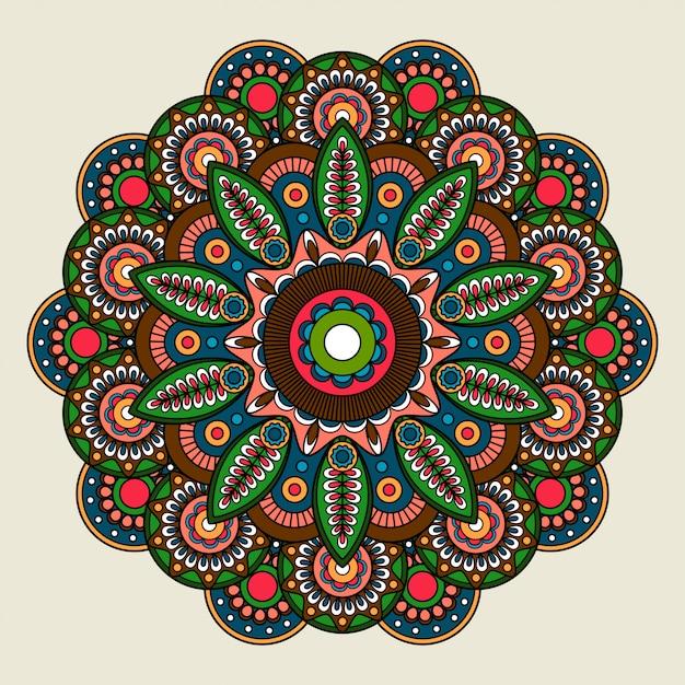 Floral bright colored mandala illustration Premium Vector